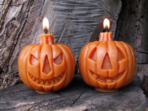 sunbeam candles 100% beeswax two-faced jack-o-lantern is hand-crafted with an unbleached, lead-free cotton wick
