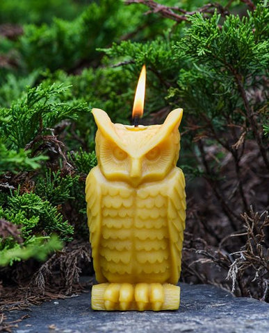 sunbeam candles 100% beeswax wise owl is hand-crafted with an unbleached, lead-free cotton wick