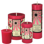 "sunbeam candles beeswax rose geranium aromatherapy pillar 3""x4.25"""