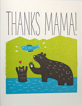 fugu fugu press thanks mama bear letterpress printed on natural white recycled paper