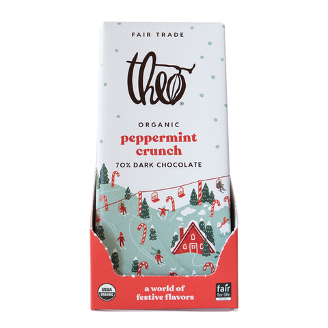 theo chocolate peppermint crunch 70% dark chocolate