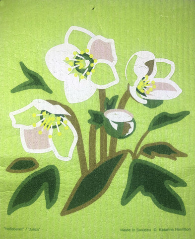 hellebores swedish dishcloth:  biodegradable & compostable dishcloth made of 70% cellulose/30% cotton & water-based inks