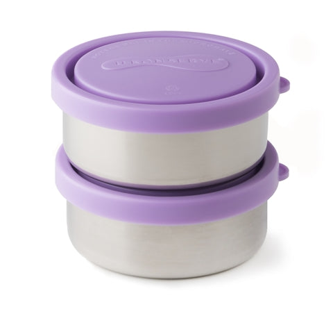 u-konserve lavender small round containers are 5oz 18/8 food grade stainless steel food containers. BPA-free & dishwasher safe