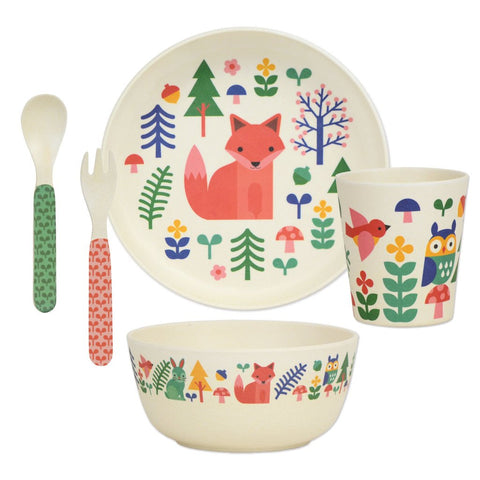 petit collage forest 5-piece bamboo dinnerware set (plate, bowl, cup, spoon, fork). BPA-free, PVC-free, and phthalate-free