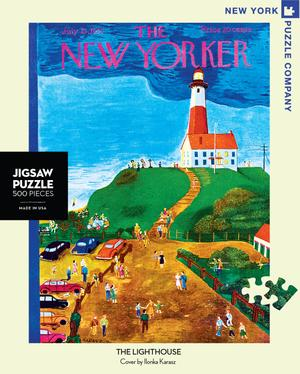 New York Puzzle Companys 500 piece jigsaw puzzle of the New Yorker cover the Lighthouse. Made in the USA