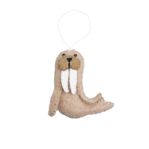 walrus arctic animal ornament hand felted, stuffed and stitched with care by artisans in nepal