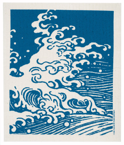 waves swedish dishcloth:  biodegradable & compostable dishcloth made of 70% cellulose/30% cotton & water-based inks