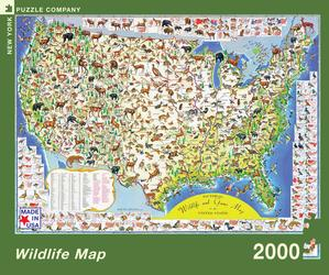 Wildlife Map, illustrated by Ira Moss is a 2000 Piece Jigsaw Puzzle. Made in USA. Recommended Age: 13+ Years