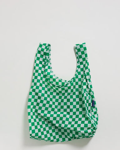 green checkerboard reusable shopping bag holds up to 50lbs. can fit over shoulder. made from 40% recycled ripstock nylon