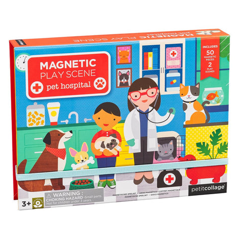 petit collage pet hospital site magnetic play. 2 magnetic scene backgrounds & 50 magnetic pieces. ages 3 +