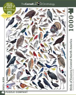 New York Puzzle Company's 1,000 piece jigsaw puzzle birds of eastern america, cornell lab of ornithology. made in the USA