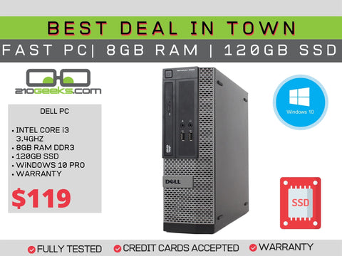 Dell Optiplex 3020 SFF PC Core i3-4130 3.4GHz | 8GB | 120GB SSD | DVD | WIN 10