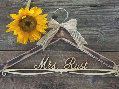 Distressed Bridal Hanger, Rustic Wedding Hanger, Bride Hanger, Wedding Hanger, Rustic Wedding, Shabby Chic Wedding, Fall Wedding, Mrs Hanger