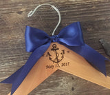 ANCHOR Wedding Hanger / Nautical Bridal Hanger / Beach Bride Hanger / Nautical Wedding / Personalized Wedding Dress Hanger / Engraved Hanger