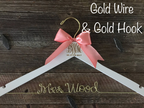 Wedding Monogram Hanger, Bride Hanger, Engraved Bridal Hanger, Monogram Wedding Hanger, Rustic Wedding, Gold Wire Hanger, Monogram Gift