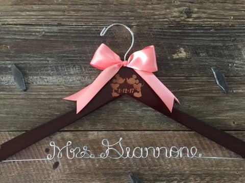 Disney Wedding Hanger, Bridal Hanger, Bride Hanger, Mickey & Minnie Wedding, Disney Wedding, Personalized Hanger, Mickey Hanger