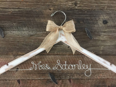 Bridal Hanger / Rustic Hanger / Bride Hanger / Distressed Hanger / Wedding Hanger /  Rustic Wedding / Shabby Chic Wedding