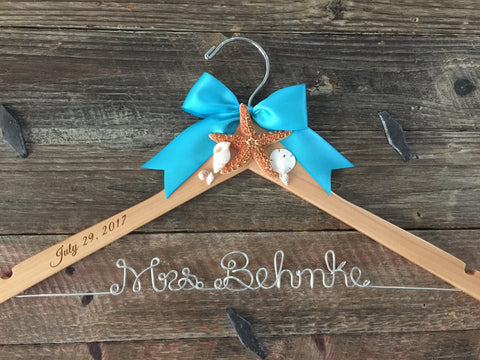 Beach Bridal Hanger, Wedding Hanger, Beach Bride Hanger, Beach Wedding, Seashell Hanger, Starfish Hanger, Personalized Hanger, Mrs. Hanger
