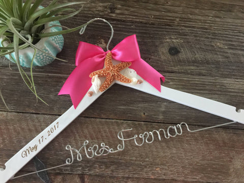 Beach Bridal Hanger, Wedding Hanger, Beach Bride Hanger, Beach Wedding, Seashell Hanger,Starfish Hanger, Personalized Hanger, Mrs. Hanger