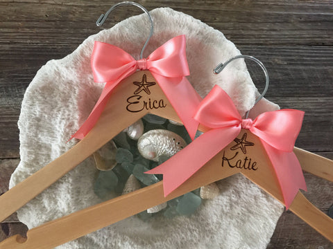 Bridesmaid Dress Hangers, Bridesmaid Gift, Engraved Bridesmaid Hanger, Beach Wedding, Personalized Bridal Party Hanger, Beach Wedding Hanger