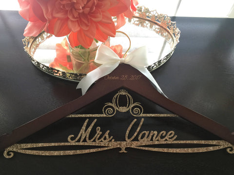 Disney Wedding  Hanger, Cinderella Bride Hanger, Disney Wedding, Wedding Hanger, Personalized Bridal Hanger, Cinderella carriage hanger