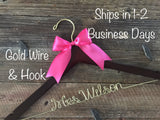 Wedding Hanger, Bridal Hanger, Personalized Hanger, Bride Hanger, Gold Wire Name Hanger, Mrs. Hanger, Custom Hanger, Wedding Dress Hanger