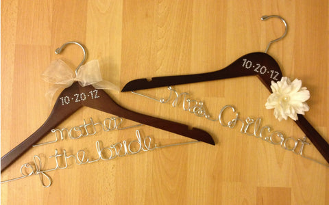Bridal Hanger / Bride & Mother of the Bride Wedding Hanger SET / PEARL or CRYSTAL Wedding Date Hanger