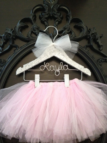 Tutu, Tutu Hanger, Tutu Display, Kids Hanger, Flower Girl Gift, Personalized Hanger, Glitter Covered, Little Girls Hanger