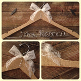BURLAP Wedding Hanger / Rustic Elegance Wedding / Bridal Hanger /  Rustic Wedding / Vintage Wedding / Burlap Wedding / Bride Hanger