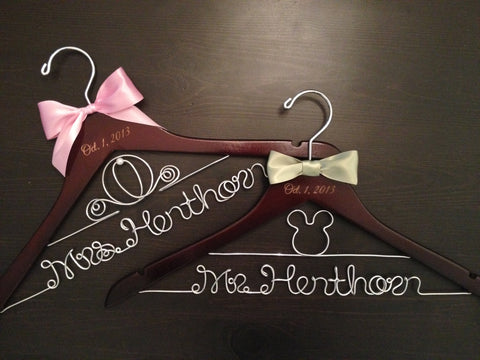 Disney Wedding Hanger / Bridal Hanger / Disney Wedding / Bride and Groom Hangers / Mickey & Minnie Wedding / Personalized Hanger