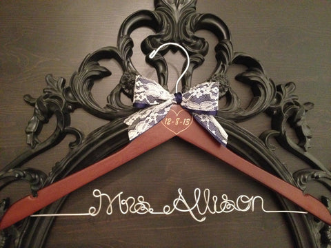Rustic Wedding Hanger / Bridal Hanger / Wedding Hanger / Engraved Bride Hanger / Vintage Rustic Wedding / Personalized Hanger