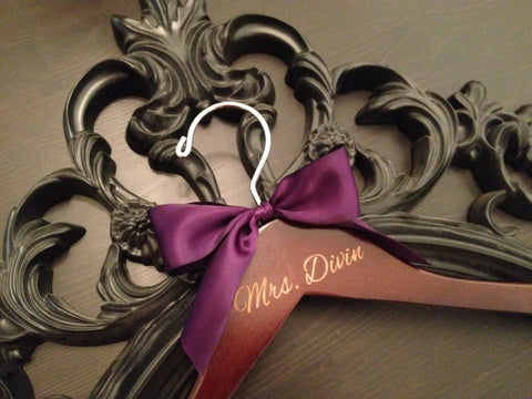 Engraved Bridal Hanger / Personalized Wedding Hanger / Bride Hanger / Name Hanger / Wedding Dress Hanger / Mrs. Hanger