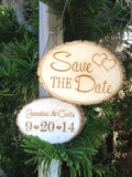 Save The Date Sign / Tree Slice Sign / Engagement Photo Prop / Rustic Wedding Sign / Engagement Photo Sign / Wedding Photo Prop