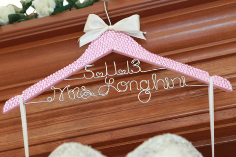 Bridal BLING Hanger with Wire Wedding Date / PINK Bling Glamorous Wedding Hanger / Personalized Hanger / Brides Hanger / Name Hanger
