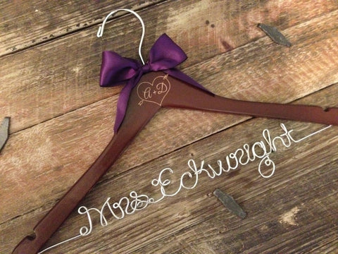 Rustic Wedding Hanger / Bridal Hanger / Engraved Initials / Rustic Wedding / Personalized Hanger / Bride Hanger / Mrs. Hanger