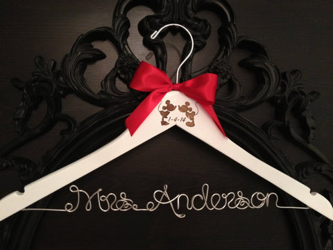 Disney Bridal Hanger, Wedding Hanger, Bride Hanger, Mickey & Minnie Wedding, Disney Wedding, Personalized Hanger, Mickey Hanger