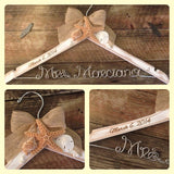 Distressed Beach Themed Wedding Hanger / Rustic Beach Bridal Hanger / Bride Hanger / Beach Wedding / Seashell Hanger / Personalized Hanger
