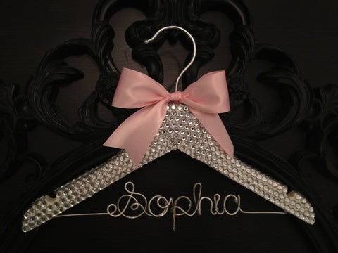 Bling Rhinestone Hanger / BLING Kids Hanger / Children's Personalized Hanger / Baby Shower Gift / Flower Girl Hanger / Flower Girl Gift