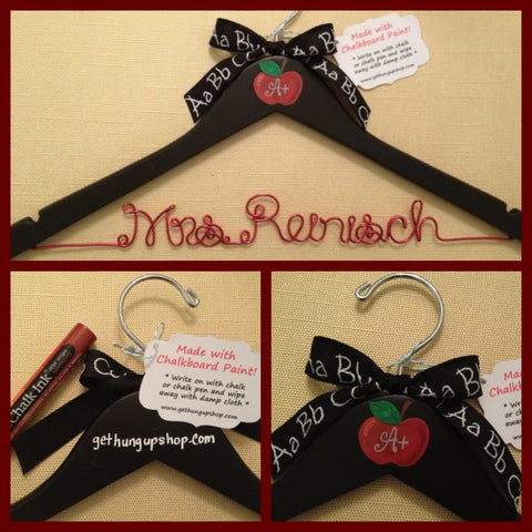 TEACHER Gift, Personalized Hanger, School Teacher Gift, Personalized Gift, Chalkboard Paint, Wire Name Hanger, Teacher Hanger, School Gift