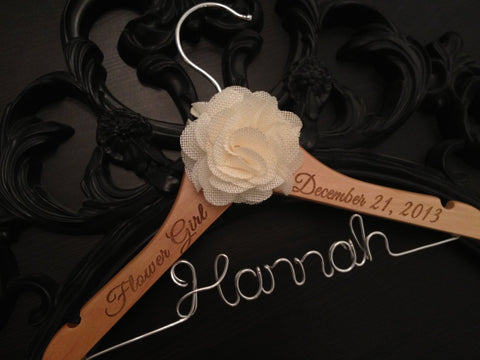 Flower Girl Hanger / Childrens Hanger / Wedding Hanger / Bridal Hanger / Kids Hanger / Personalized Hanger / Baby Hanger / Flower Girl Gift