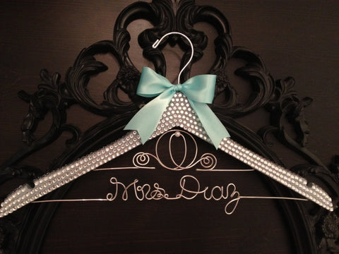 BLING Wedding Hanger / Cinderella Bridal Hanger / Disney Hanger / Brides Name Hanger / Bride Hanger / Bling Wedding / Disney Wedding