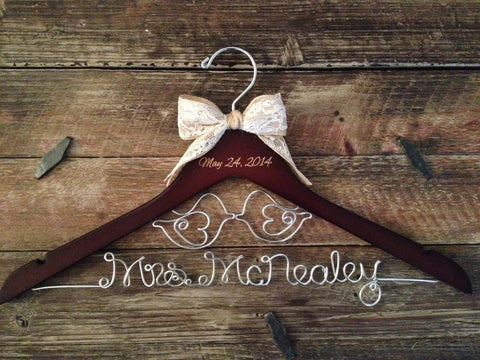 Wedding Hanger / LOVE BIRDS Wedding / Bridal Hanger / Rustic Hanger / Love Birds Hanger / Bride Hanger / Mrs. Hanger