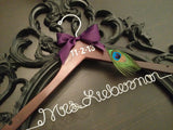 PEACOCK Bridal Hanger / Personalized Wedding Hanger / Peacock Wedding / Brides Hanger / Mrs. Hanger / Wedding Hanger / Bridal Hanger