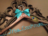 PEACOCK Bridal Hanger / Personalized Custom Bridal Hanger / Peacock Wedding / Brides Hanger / Name Hanger / Wedding Hanger / Shower Gift