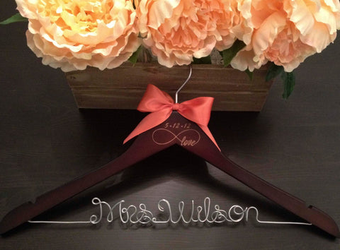 INFINITY Wedding Hanger / Bridal Hanger / Bride Hanger / Infinity Wedding / Engraved Wedding Hanger / Infinity Symbol / Mrs. Hanger