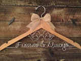 LOVE BIRDS Wedding Hanger /  Rustic Bridal Hanger / Personalized Hanger / Bride Hanger / Love Birds Wedding / Burlap Rustic Wedding