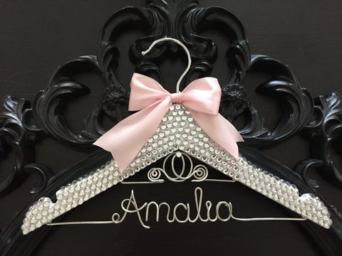 BLING Kids Hanger, Cinderella Children's Personalized Hanger, Baby Shower Gift, Flower Girl Hanger, Flower Girl Gift, Disney Princess Hanger