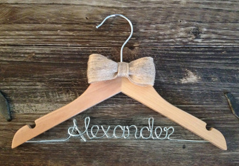 Personalized Boy Hanger / Children's Hanger / Kids Hanger / Ring Bearer Hanger / Baby Shower Gift / Burlap Wedding / Rustic Wedding