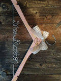 Blush Pink Distressed Wedding Hanger / Rustic Bridal Hanger / Distressed Hanger / Shabby Chic Bride Hanger / Rustic Shabby Chic Wedding