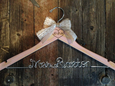 Blush Pink Rustic Wedding Hanger / Distressed Bridal Hanger / Distressed Hanger / Shabby Chic Bride Hanger / Rustic Wedding / Personalized